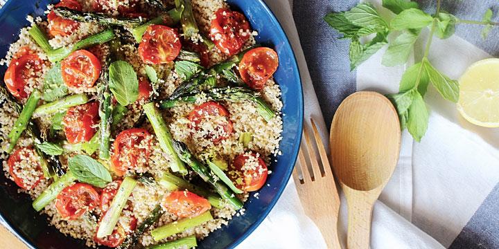 Roasted Asparagus & Tomato Salad with Lemon Couscous