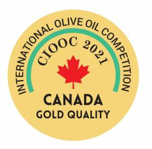 Logo of Gold Win at Canada International Olive Oil Competition for Acropolis Organics